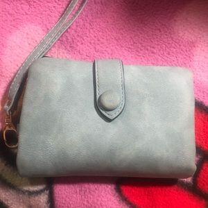 Light Blue Suede Wallet/Wristlet